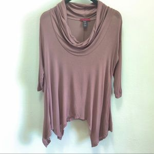 BKEred Cowl Neck 3/4 Sleeve Top with Asymmetrical Hem in Size XS